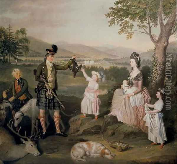 John, the 4th Duke of Atholl and his family, 1780 Oil Painting - David Allan