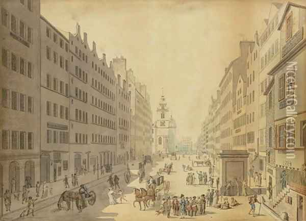 View of the High Street of Edinburgh from the East, 1793 Oil Painting - David Allan