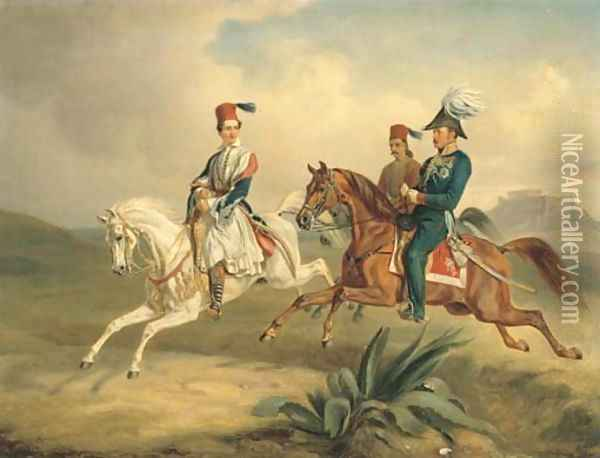 King Otto of Greece on Horseback with the Parthenon beyond Oil Painting - Albrecht Adam