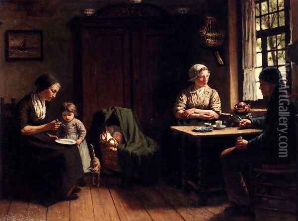 Voor Vader's Thuiskomst: Awaiting Father's Homecoming Oil Painting - David Adolf Constant Artz