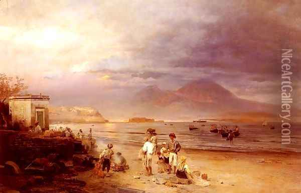 Fishermen with the Bay of Naples and Vesuvius beyond Oil Painting - Oswald Achenbach