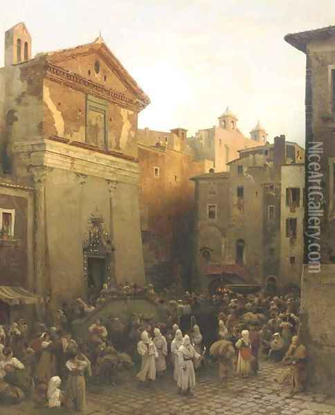 A procession in Palestrina, Italy Oil Painting - Oswald Achenbach