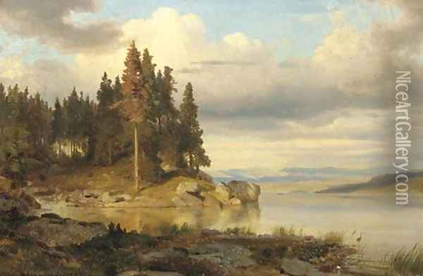 Calm autumn day by a lake, hills in the distance Oil Painting - Oswald Achenbach