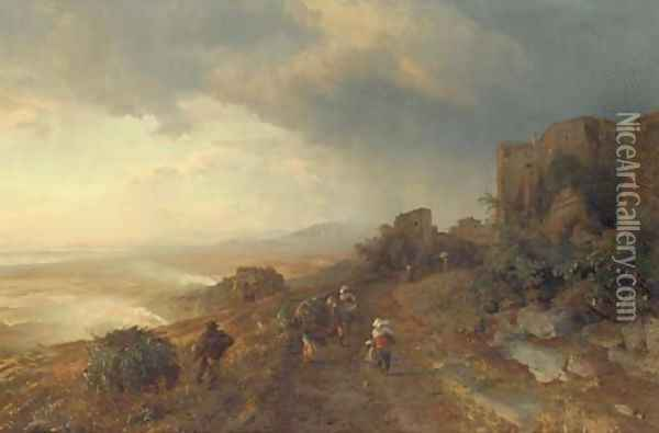 Figures on a Track in an Italian Coastal Landscape Oil Painting - Oswald Achenbach