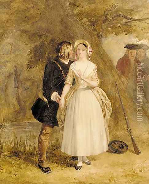 The courtship of Miles Standish Oil Painting - John Absolon
