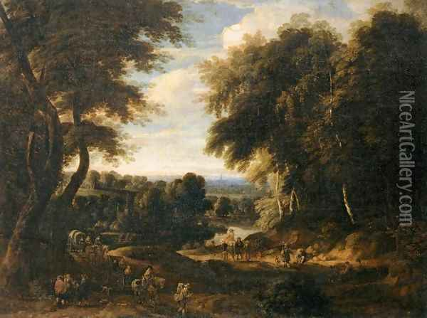 Edge of a Wood Oil Painting - Jacques d' Arthois