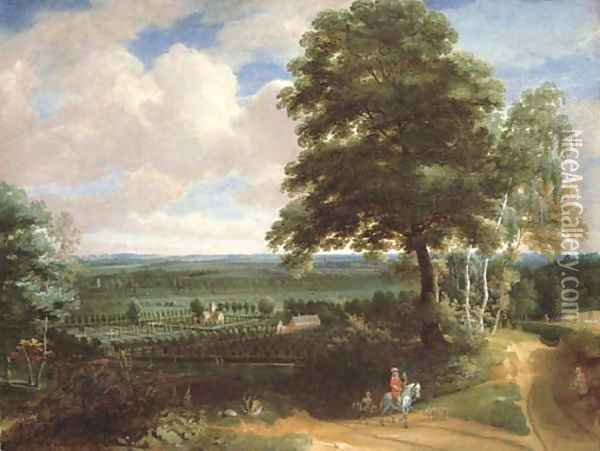 A panoramic landscape with a huntsman on a path and a manor house with formal gardens beyond Oil Painting - Jacques d' Arthois