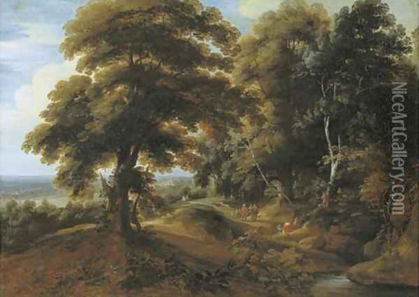 A wooded landscape with elegant figures on a path Oil Painting - Jacques d' Arthois