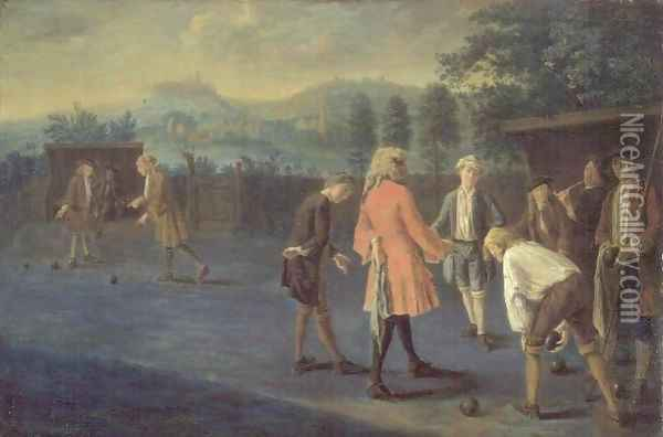 Figures on a Bowling Green Oil Painting - Pieter Angillis