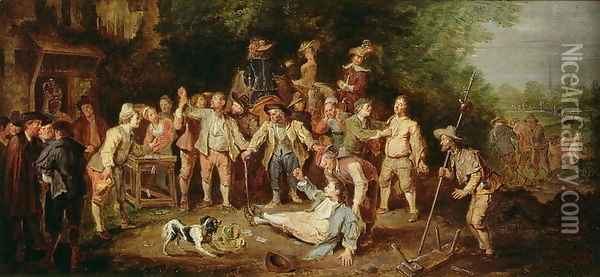 Peasants Brawling Outside a Tavern Oil Painting - Pieter Angillis