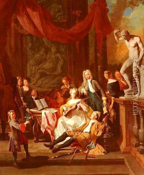 A Musical Assembly Oil Painting - Pieter Angellis
