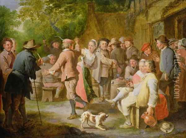 A Country Fete with Figures Dancing Oil Painting - Pieter Angellis