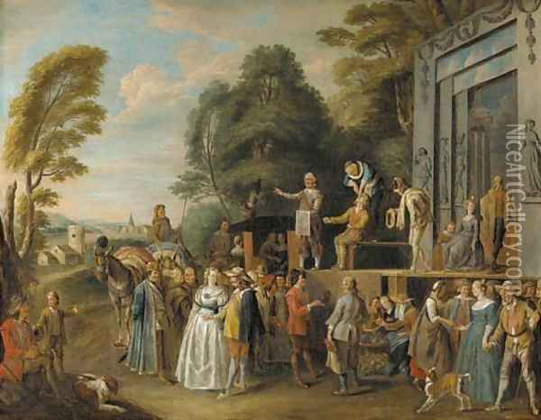 The Charlatans an outdoor theater with a quack doctor and an audience of gentry, monks and townsfolk Oil Painting - Pieter Angellis