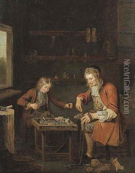 A shoemaker and his apprentice Oil Painting - Pieter Angellis