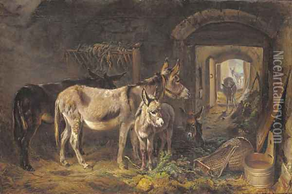 Donkeys in a stable interior Oil Painting - Benno Adam