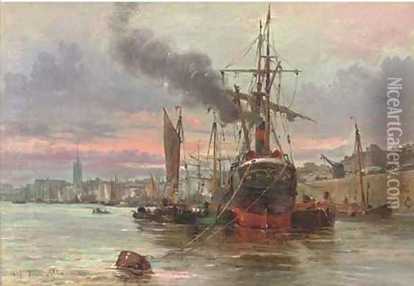 Vessels moored at the quay, a French port Oil Painting - Saverio Altamura