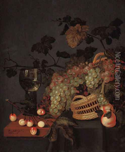 A basket with grapes, a roemer and cherries on a partly draped ledge Oil Painting - Bartholomeus Assteyn