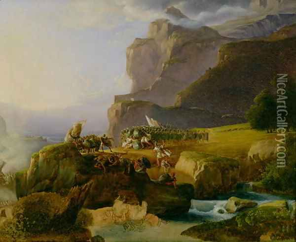 Battle of Thermopylae in 480 BC, 1823 Oil Painting - Massimo Taparelli d' Azeglio