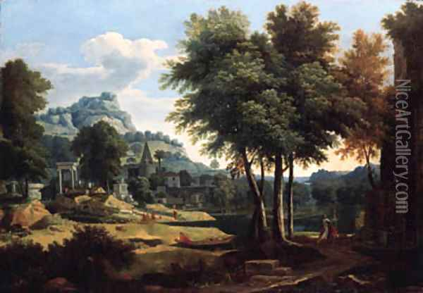 A classical landscape with figures by a river Oil Painting - Etienne Allegrain