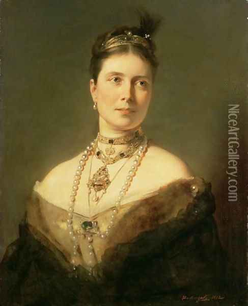 The Empress Frederick of Germany as Crown Princess of Prussia, 1882 Oil Painting - Baron Heinrich von Angeli