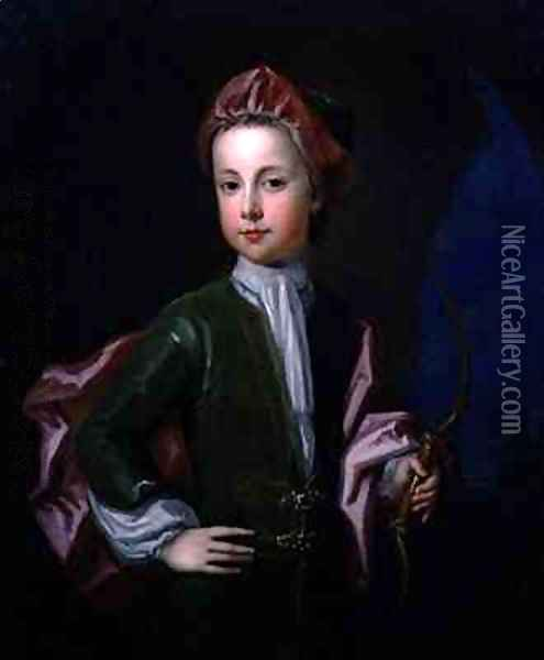 Portrait of a Young Boy of the Halsey Family Oil Painting - Charles d' Agar