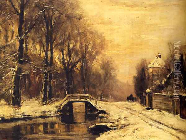 A Snowcovered Forest With A Bridge Across A Stream Oil Painting - Louis Apol