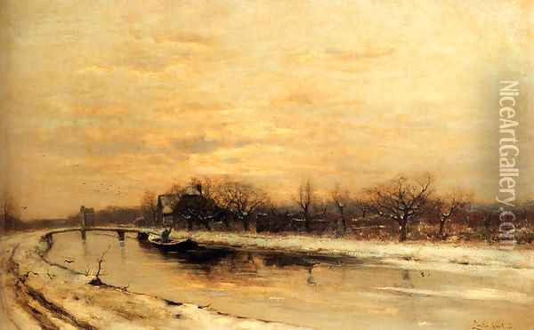 Winter: An Orchard Alongside A Canal With A Farmhouse In The Distance At Dusk Oil Painting - Louis Apol