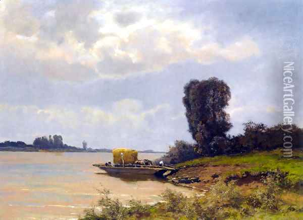 A Ferry In A Summer Landscape Oil Painting - Louis Apol