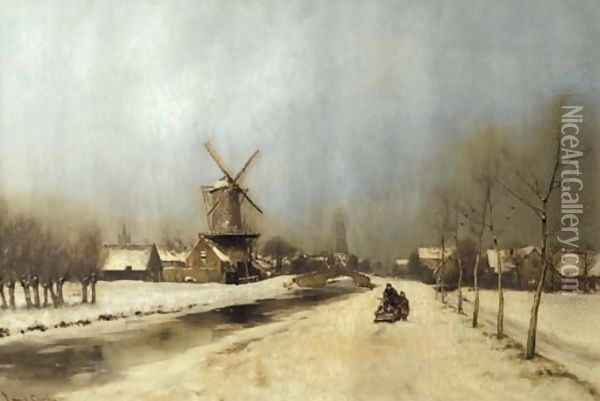 A view of the outskirts of Delft in winter Oil Painting - Louis Apol