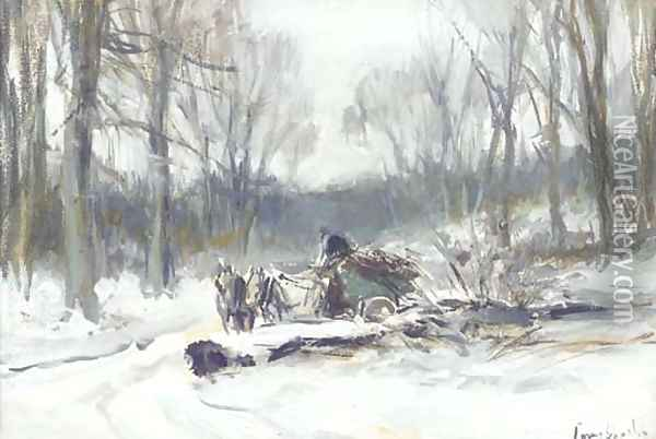 A horse-drawn cart on a frosty winter track Oil Painting - Louis Apol