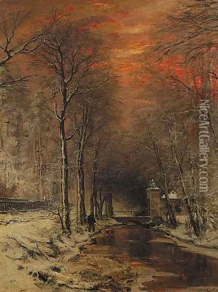 A tranquil winter forest at dusk Oil Painting - Louis Apol
