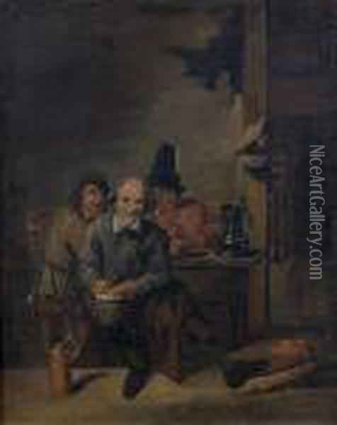 Groupe De Fumeurs Dans Un Interieur Oil Painting - David The Younger Teniers