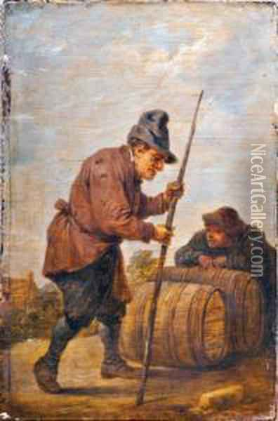Les Tonneliers Oil Painting - David The Younger Teniers