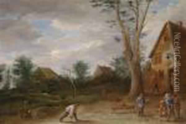 Peasants Playing Boules In Front Of An Inn Oil Painting - David The Younger Teniers
