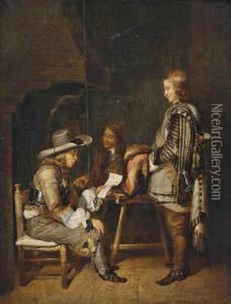 Ter Borch; And After Pieter Cornelisz. Van Slingelandt Guardsmen Reading A Letter In An Interior Oil Painting - Gerard Terborch