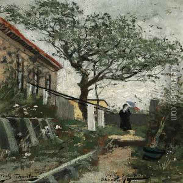 Woman With A Parasol On A Path In The Garden Behind Merchant Holst's Homestead, Skagen Oil Painting - Fritz Thaulow