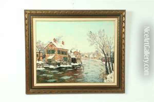 Winter Landscape Possibly Oil Painting - Fritz Thaulow