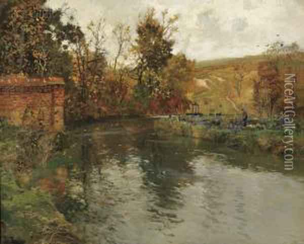 Autumn River Scene, Probably The Netherlands Or Belgium Oil Painting - Fritz Thaulow