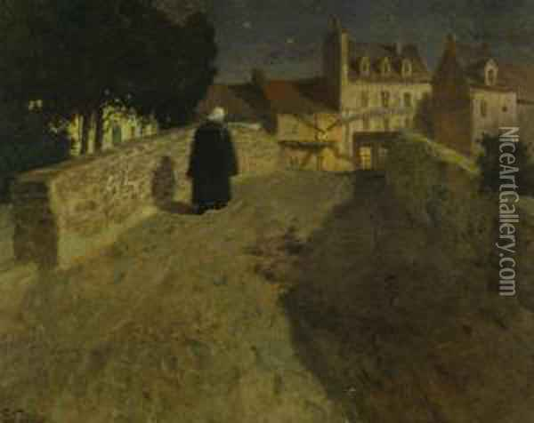Towards The Pont Lovignon (pont Fleuri) In Quimperle Oil Painting - Fritz Thaulow