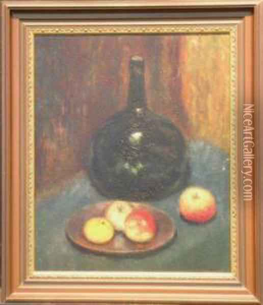 Still Life With Fruit And Glass Bottle Oil Painting - Abbott Handerson Thayer