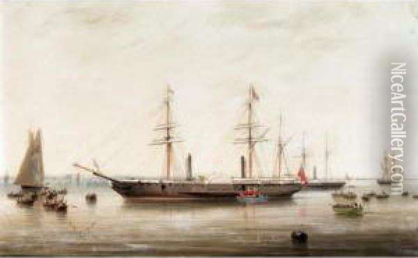 The P & O Liner Hindustan Receiving Queen Victoria On Board Oil Painting - Robert Strickland Thomas