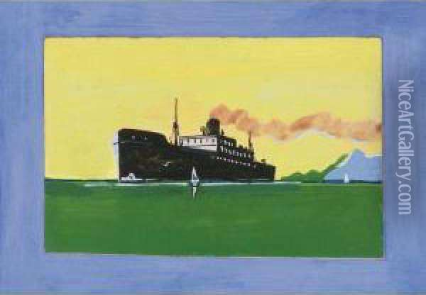 Lake Freighter Oil Painting - Tom Thomson