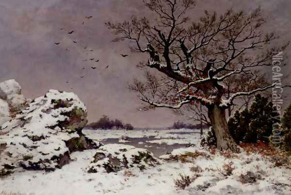 A Winter's Day Oil Painting - Alphonse Asselbergs