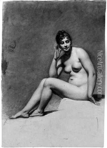 A seated female nude, her head turned to the right, and a caricature study of her head Oil Painting - Pauline Auzou