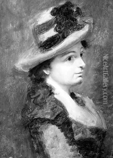 A girl in profile to the right, bust-length, wearing a hat Oil Painting - Pauline Auzou