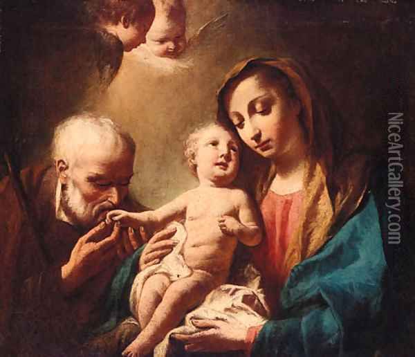 The Madonna and Child with Saint Anthony of Padua Oil Painting - Giuseppe Angeli