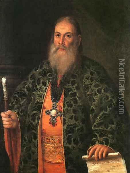 Portrait of Father Fyodor Dubyansky, 1761 Oil Painting - Aleksei Antropov