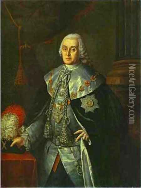 Portrait Of General In Chief Count William W Fermor 1765 Oil Painting - Aleksei Antropov
