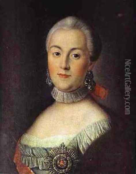 Portrait Of Grand Duchess Catherine Alekseevna Future Empress Catherine Ii The Great 1760s Oil Painting - Aleksei Antropov