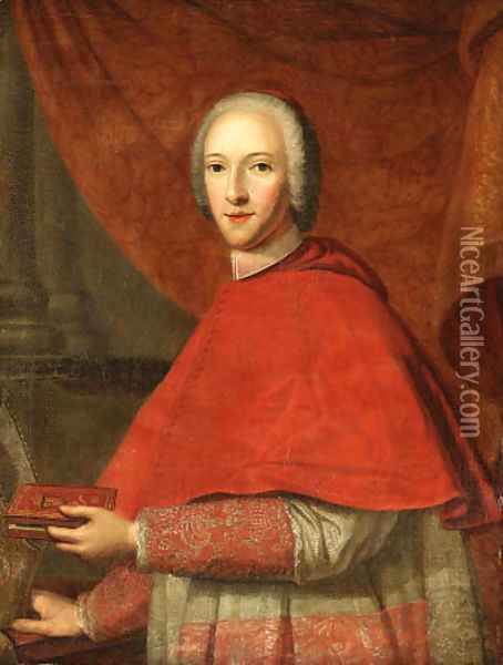 Portrait of Cardinal of York (1725-1807), half-length, in Cardinal's Robes, holding a prayer book in his left hand, his mitre in his right hand Oil Painting - Cosmo Alexander